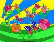 Tropical Butterflies Coloring